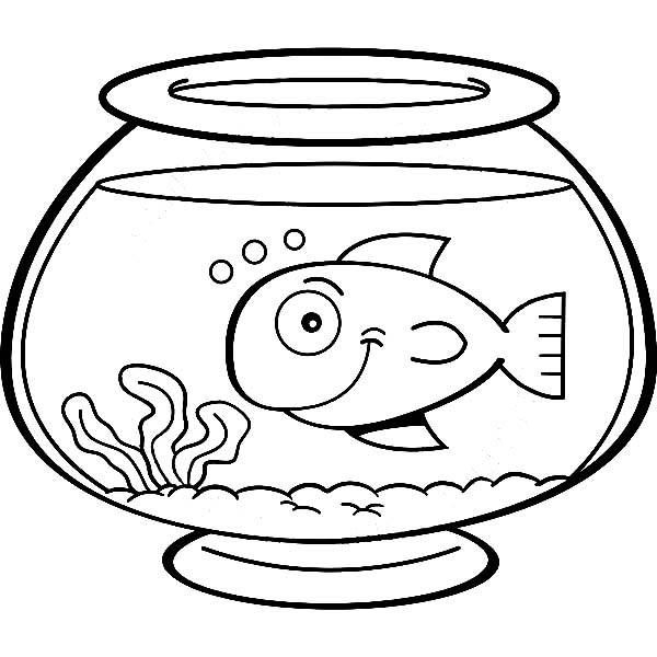 Smiling Fish In Fish Bowl Coloring Page