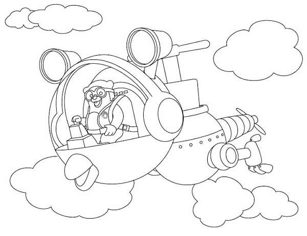 Special Agent Oso Riding Whirly Bird In Special Agent Oso