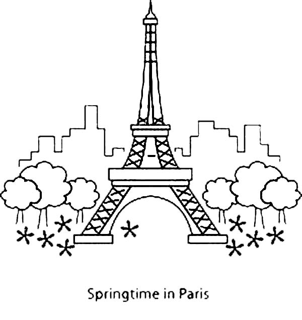 Eiffel Tower Springtime In Paris With Coloring Page