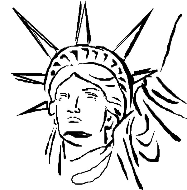 print statue of liberty head coloring page in full size