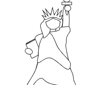 A simple drawing of rainbow behind the cloud coloring page for Statue of liberty drawing template