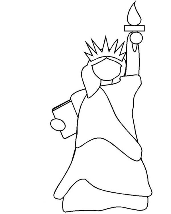 Statue of liberty outline coloring page download print for Statue of liberty drawing template