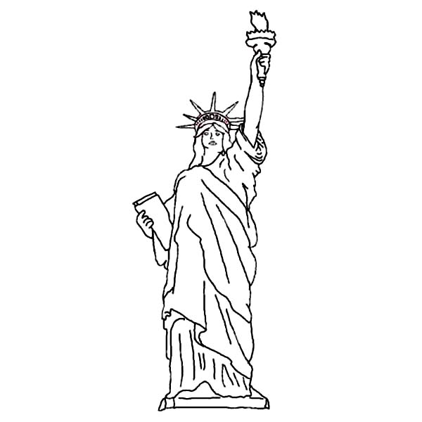 print statue of liberty picture coloring page in full size