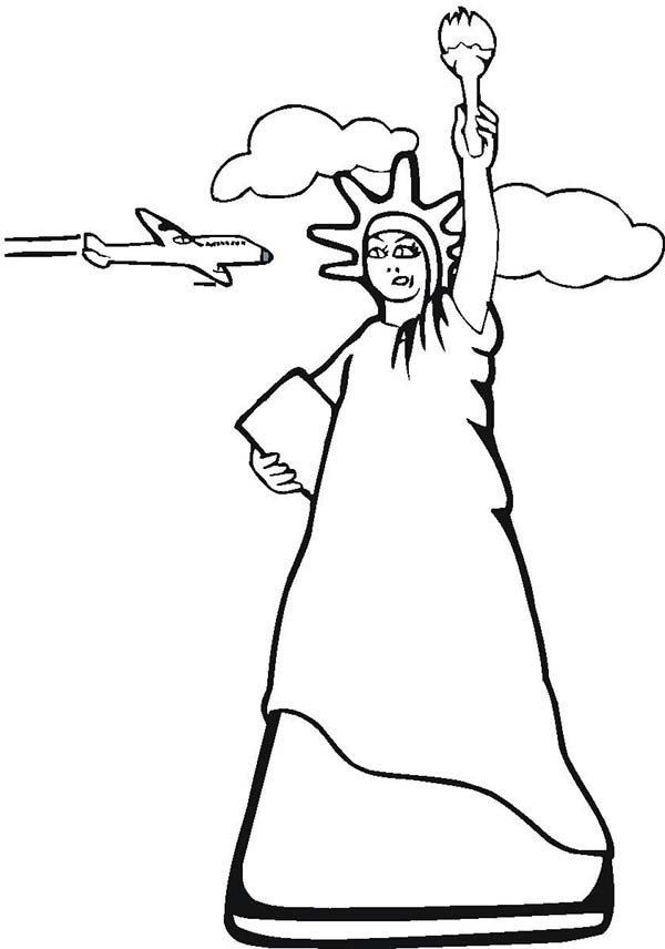print statue of liberty and air force one coloring page in full size - Air Force Coloring Pages Printable