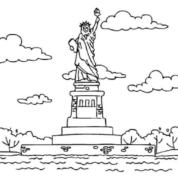 statue of liberty in bedloes island coloring page - Island Coloring Pages
