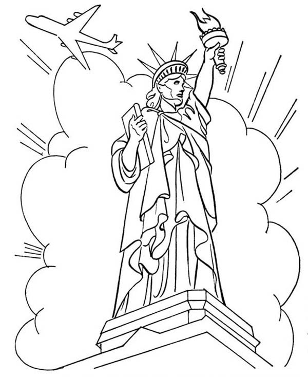 Statue Of Liberty In Front Cloud And Air Force One Coloring Page