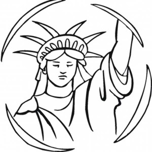 Statue of Liberty in the Circle Coloring Page