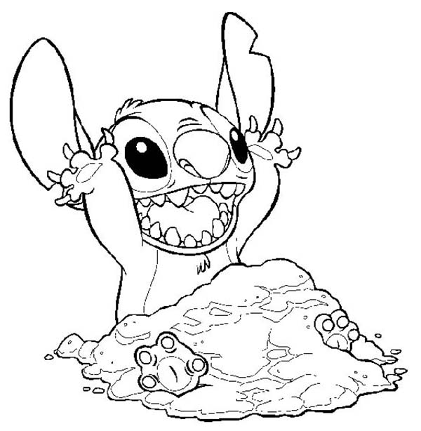 Lilo Stitch Covering Himself With Sand In Coloring Page
