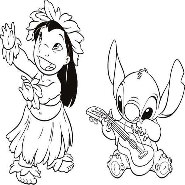 Stitch Playing Guitar while Lilo Dance in Lilo Stitch Coloring