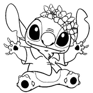 Stitch in Hawaiian Outfit in Lilo & Stitch Coloring Page