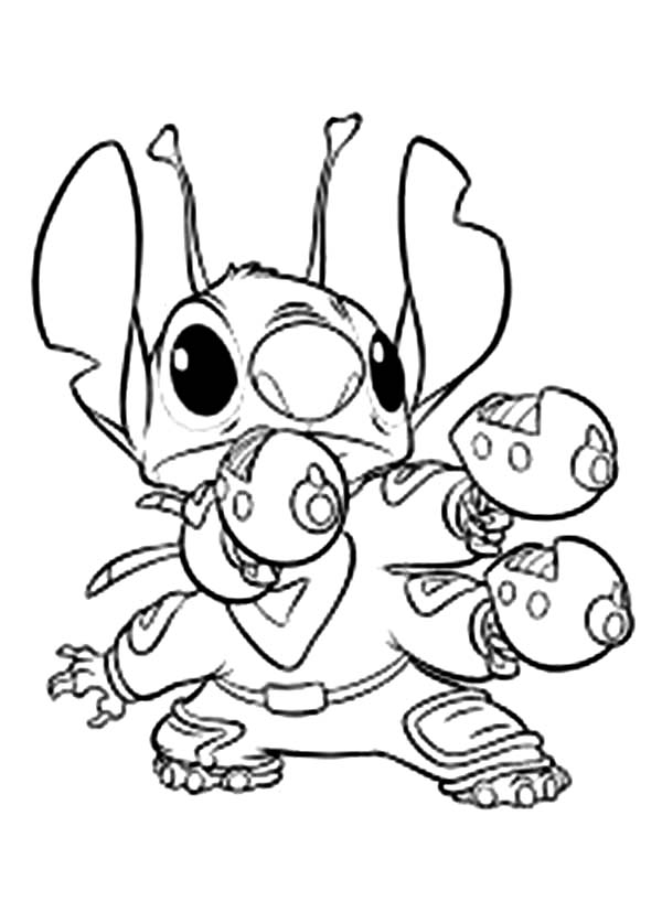Lilo Stitch With Hand Gun In Coloring Page