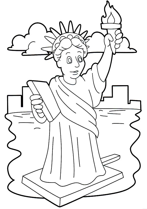Statue Of Liberty Stunning Coloring Page