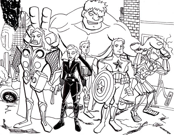 The Avengers Assemble Coloring Page Download Print Online