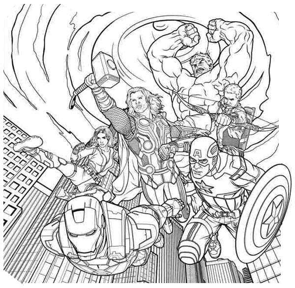 The Avengers Came Down From Sky Coloring Page