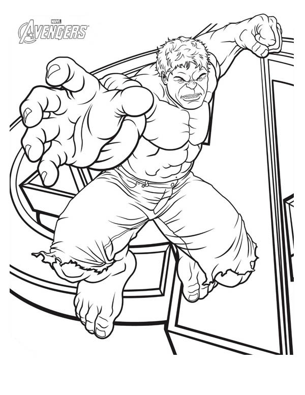 Print The Avengers Character Hulk Coloring Page In Full Size