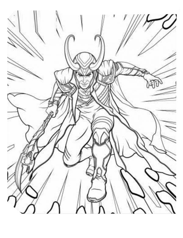 The Avengers Character Loki Coloring Page