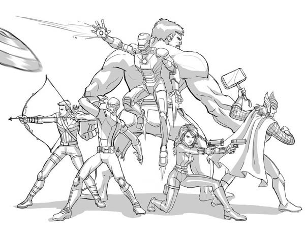 The Avengers Defending The Earth Coloring Page Download Print