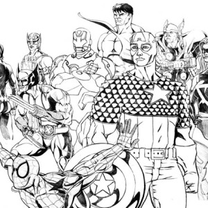 The Avengers and Wolverine Coloring Page