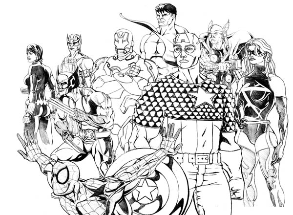 The Avengers and Wolverine Coloring Page Download Print Online