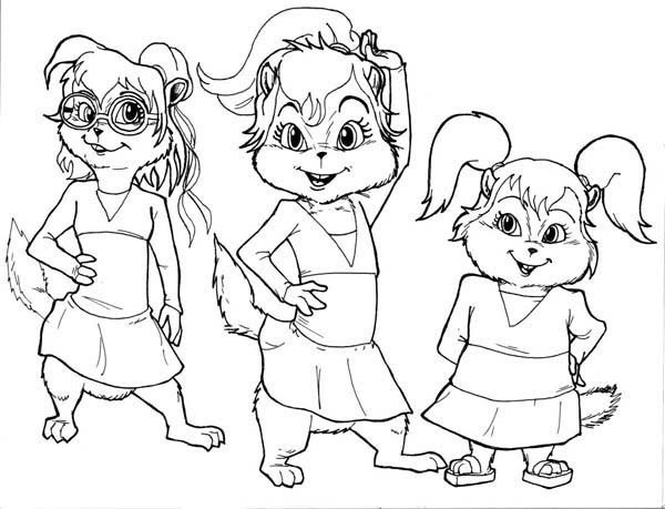 The chipettes posing for photo coloring page