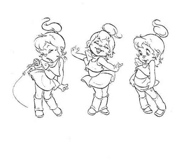 The Chipettes Singing and Dancing Coloring Page  Download  Print