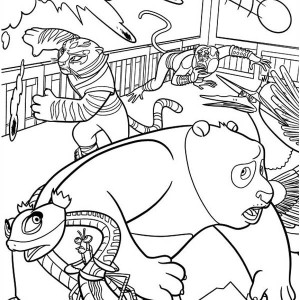 The Dragon Warrior and The Furious Five Run from Canon in Kung Fu Panda Coloring Page