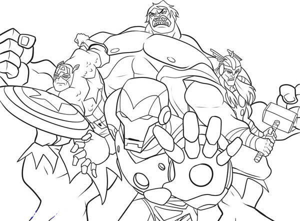 print the heroic avengers coloring page in full size - Avengers Coloring Pages