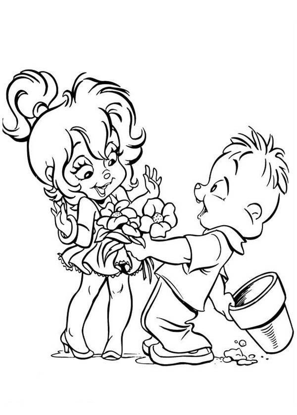 Theodore Give Flower to Brittany The Chipettes Coloring ...