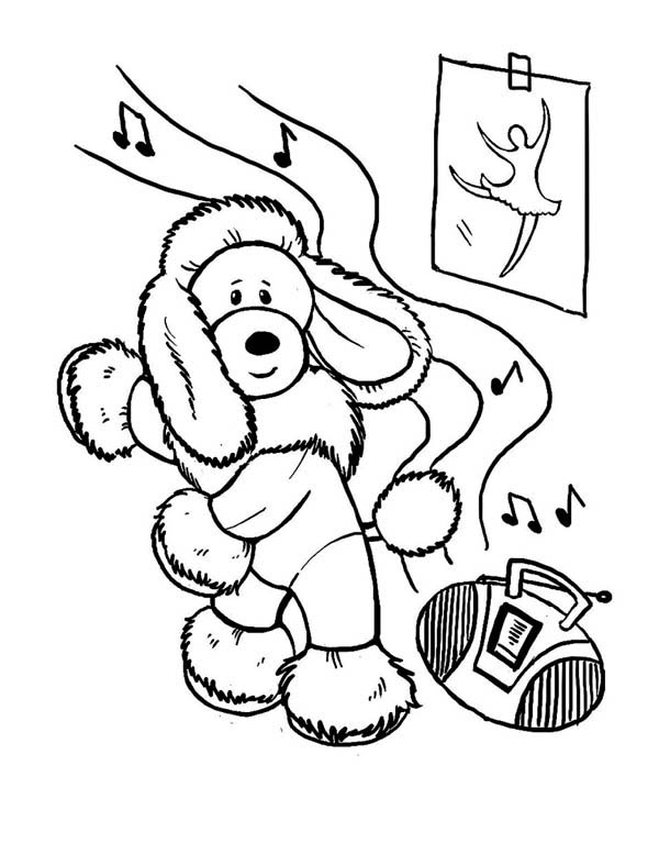 dog this funny dog learn to dance coloring page