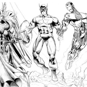 Thor-and-Captain-America-and-Iron-Man-in-The-Avengers-Coloring-Page-300x300