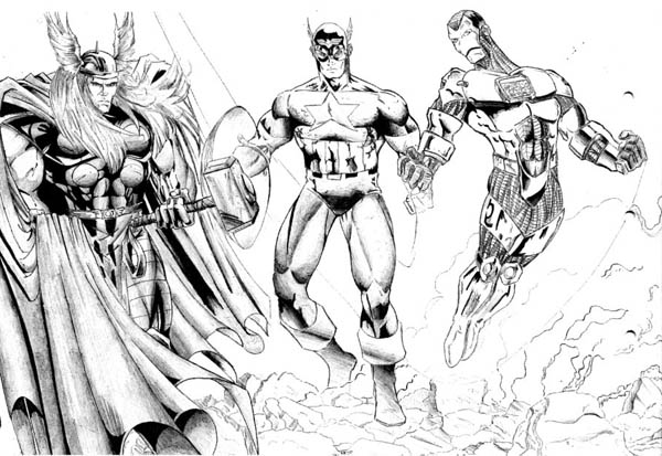 Thor and Captain America and Iron Man in The Avengers Coloring Page
