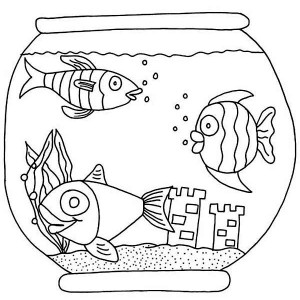 Three Fish with Castle in Fish Bowl Coloring Page