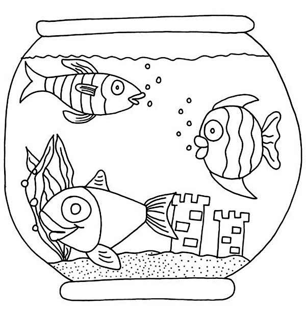 Three Fish with Castle in Fish Bowl Coloring Page Download