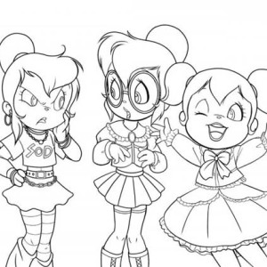 Three Happy Chipettes Coloring Page