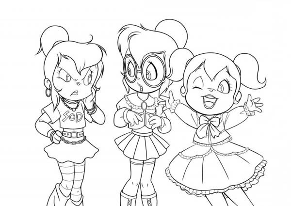 Three Happy Chipettes Coloring Page - Download & Print Online ...