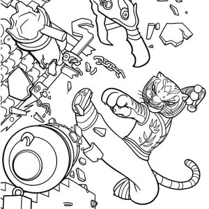 Tigress Kick Destroying Canon in Kung Fu Panda Coloring Page
