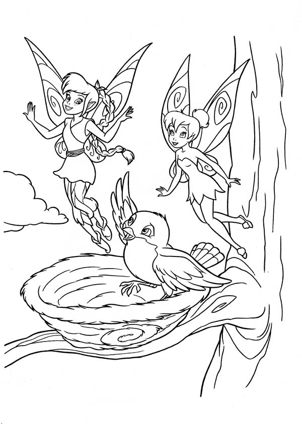 Tinkerbell and Fawn say Goodbye to a Bird in Disney Fairies