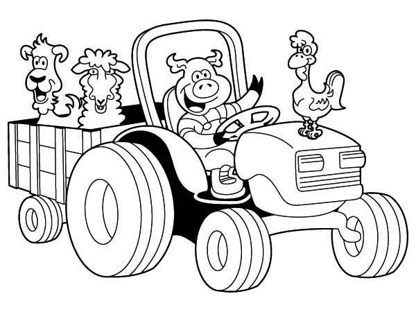 tractor carrying chicken pig lamb and dog coloring page