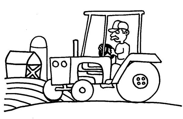 Tractor farm and barn coloring page