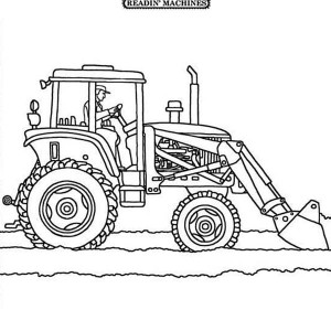 Tractor Plowing the Snow Coloring Page