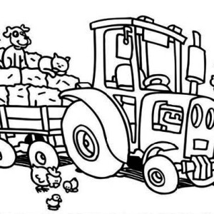 Tractor Take Away Crops Coloring Page