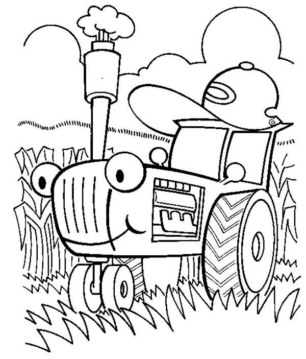 Tractor Is Busy Coloring Page