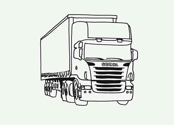 print tractor trailer semi truck coloring page in full size