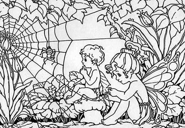 Two Rainforest Guardian Angel Coloring Page - Download & Print ...