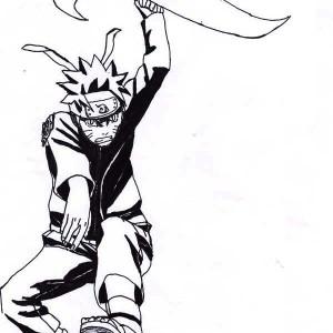 Uzumaki Naruto Attack with Big Shuriken Coloring Page