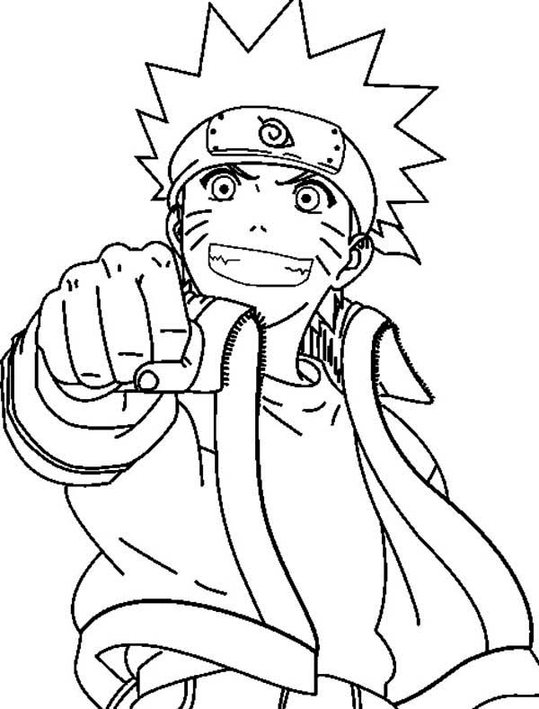 Uzumaki naruto fist coloring page download print for Naruto colored pages