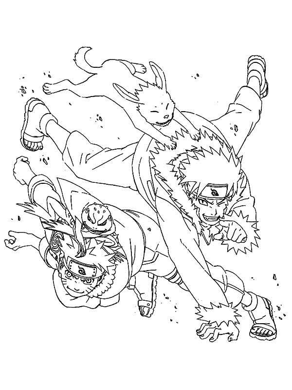Uzumaki Naruto and Sennin Naruto Coloring Page Download Print