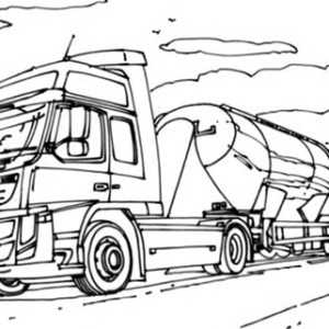 VTN Semi Truck on the Road Coloring Page