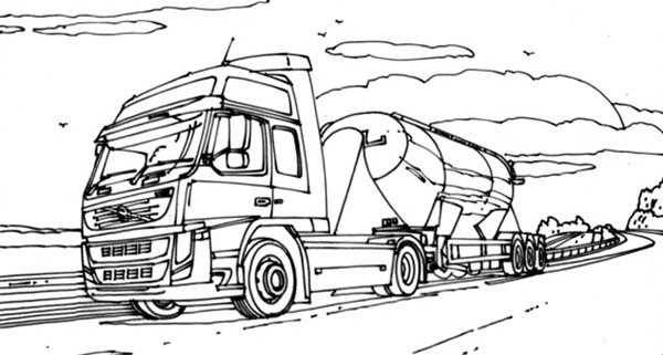 VTN Semi Truck on the Road Coloring Page Download Print Online