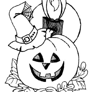 Witch Hat And Crow Pumpkins Coloring Page